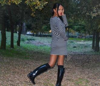 striped dress boots
