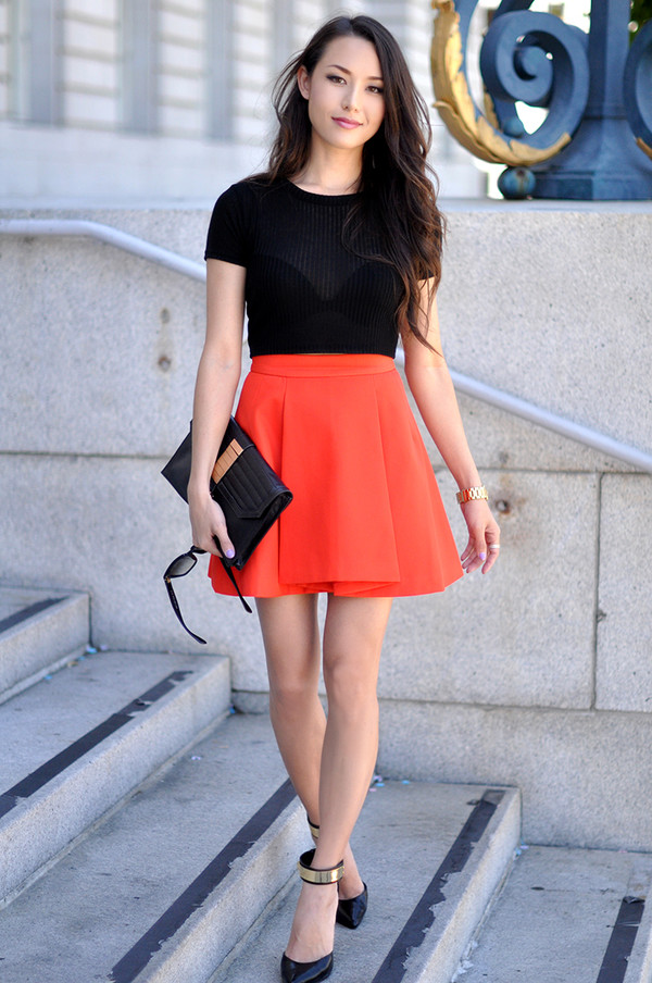 hapa time skirt top shoes bag blogger orange sandals high heels clutch topshop nordstrom summer outfits classy elegant gold