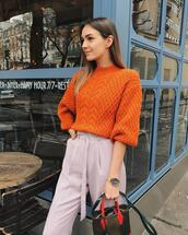 fashion agony,blogger,sweater,pants,shoes,bag,orange sweater,handbag,spring outfits