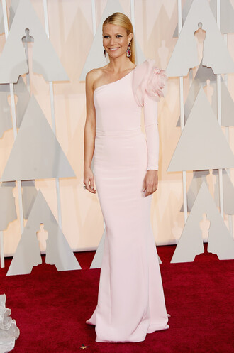 jacket oscars 2015 gown one shoulder gwyneth paltrow red carpet dress dress