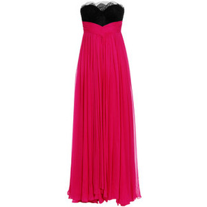 Exclusive silk crepe strapless gown in pink (fuch...