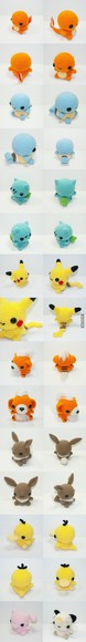 pokemon cute blue yellow jewels pink charmender stuffed animals knitted orange brown stuffed animal