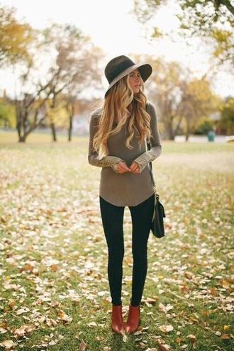 blouse ankle boots hat khaki shirt shoes cute fashion fall outfits olive green sweater boots heels top baggy long thin soft grey green dull long shirt button tan sleeve long sleeves style bag jeans leggings