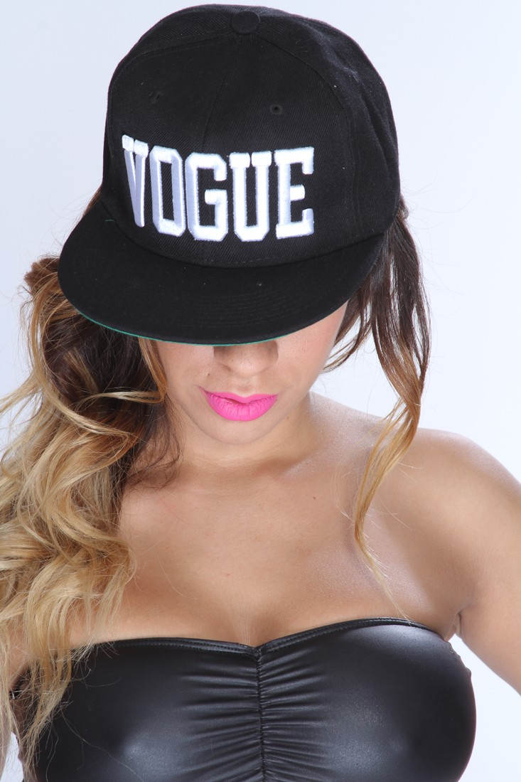 b52481e18ab66 Black White Embroidered VOGUE Snap Back Hat   Amiclubwear Hat Online Store  Women s  Hat