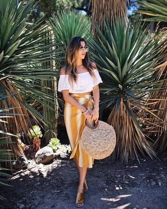 skirt tumblr midi skirt wrap skirt top white top off the shoulder off the shoulder top bag basket bag shoes slide shoes sunglasses