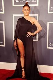 dress,jennifer lopez,sexy,gorgeous,slit dress,black