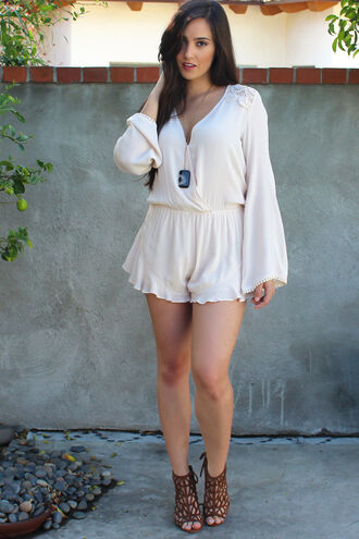romper playsuit crochet ruffle bellsleeve boho chic coachella natural colours heels fashion style