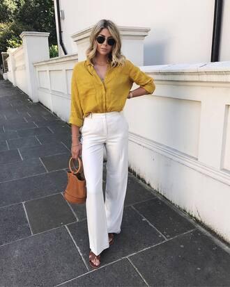 shirt tumblr yellow yellow top pants white pants wide-leg pants bag handbag shorts shoes sandals flat sandals sunglasses