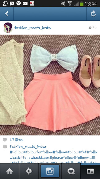 shoes bows skirt bow pretty sweater pink dress white dress shirt