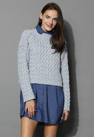 sweater soft cable knit sweater in grey knitted sweater grey sweater chicwish