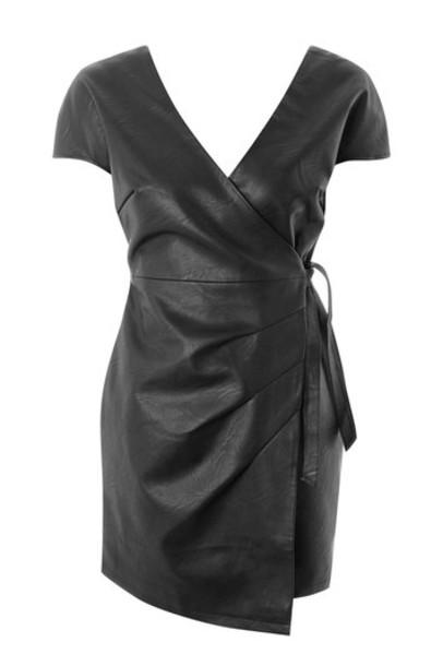 Topshop dress mini dress mini leather black