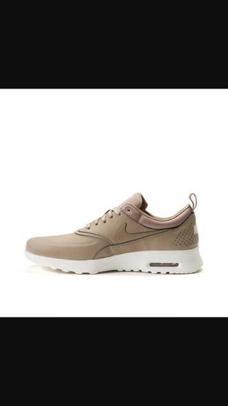 shoes nike running shoes nike nike air max thea tan white sneakers nike sneakers nike shoes beige nude tennis shoes grey suede boots fashion style trendy over the knee boots freevibrationz