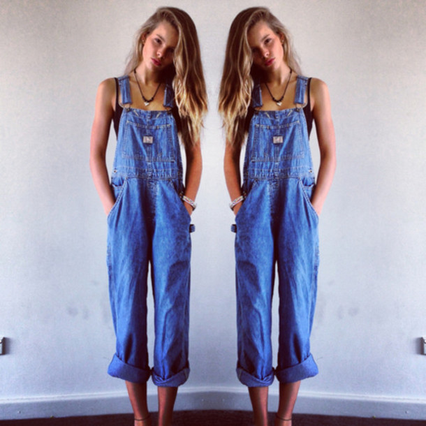 Jeans: dungarees, pants, overalls, blue, denim, vintage, long ...