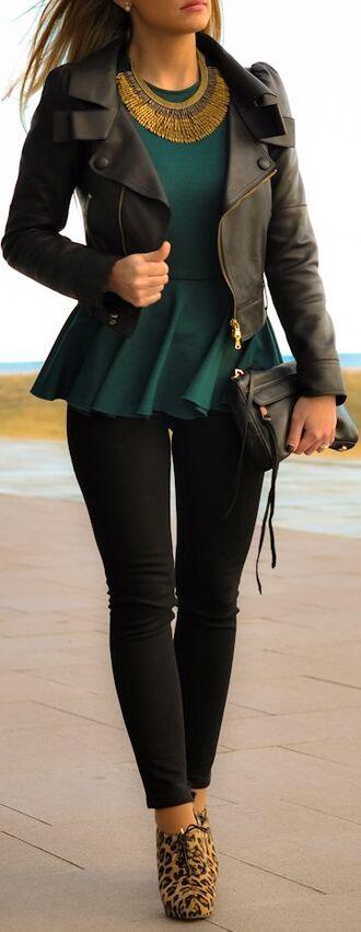 blouse purse leather jacket peplum top black pants necklace