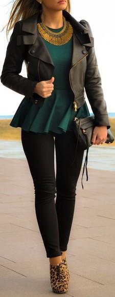 black pants peplum top leather jacket purse necklace blouse