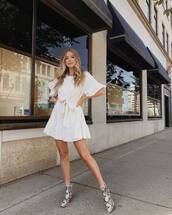 dress,white dress,short dress,white,boots