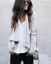 jacket,tumblr,white jacket,leather jacket,waterfall jacket,sweater,white sweater,pants,black pants,bag,nude bag,shoulder bag