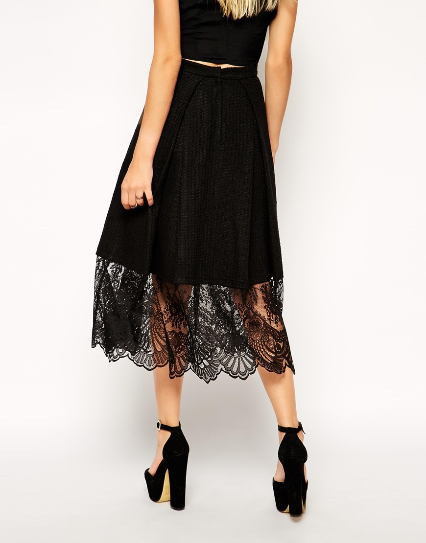 Asos midi skirt in texture with lace hem at asos.com