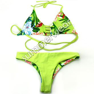 swimwear bikini cute fashion summer ocean beach green tropical fashion blogger tropical bikini reversible reversible bikini