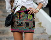 madame rosa,skirt,blouse,shoes,bag,blogger,summer outfits,elephant,nail polish,watch,mini skirt,colorful,hipster,boho chic,boho,hippie,hippie chic