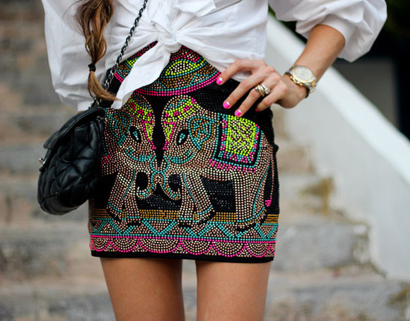 shoes blouse bag skirt hipster mini skirt blogger summer outfits watch chanel madame rosa elephants nail polish colorful boho chic boho hippie hippie chic