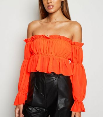 Cameo Rose Bright Orange Chiffon Crop Top | New Look