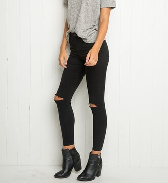 jeans black jeans distressed denim shoes boots leather black ankle boots
