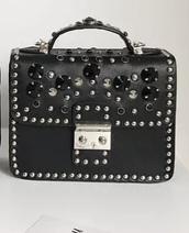 bag,studs,pearl,purse,handbag,black