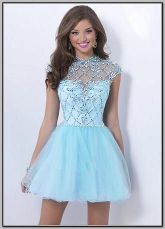 dress sequins sequin dress light blue short dress short prom dress