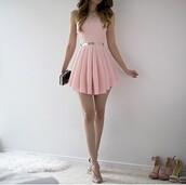 dress,light pink dress,gold belt,pink,baby pink dress,light pink,short,gold accessoris,beautiful