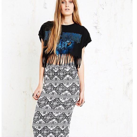 t-shirt crop tops harley davidson wolf festival top printed crop top