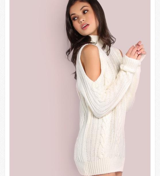 dress sweater dress cold shoulder sweater knit