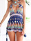 Multicolor printed deep v strappy jumpsuit