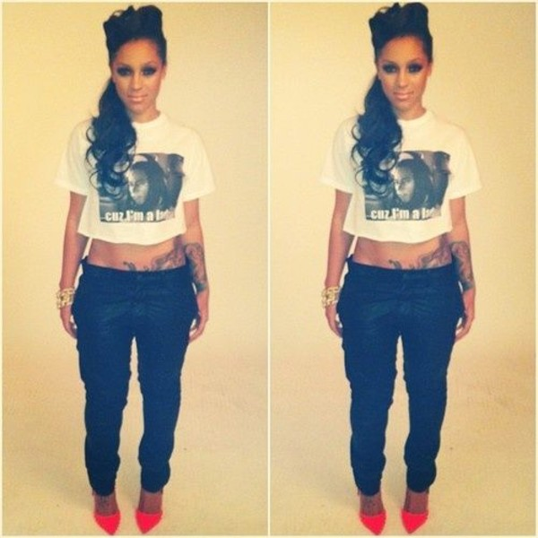 shirt crop tops pants high heels shoes