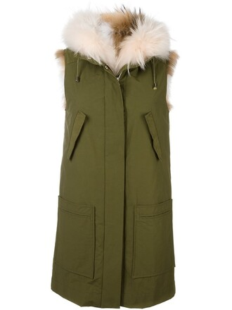 parka sleeveless fur women green coat
