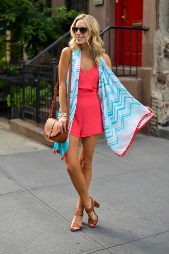 katie's bliss - a personal style blog based in nyc blogger romper scarf bag shoes sunglasses jewels
