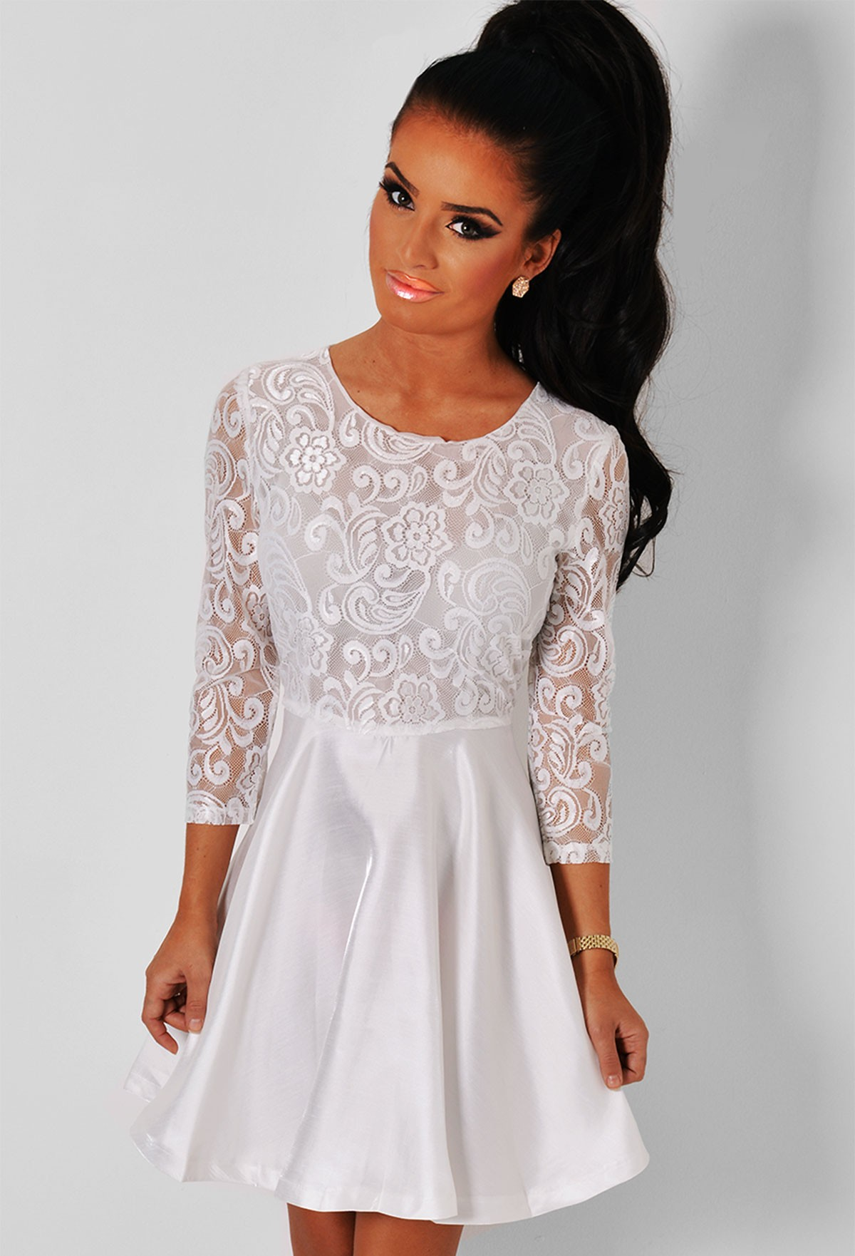 2920bbcb9f Angel White Long Sleeved Lace Skater Dress