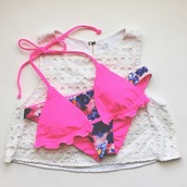swimwear,bikini,cover up,neon,neon pink,floral