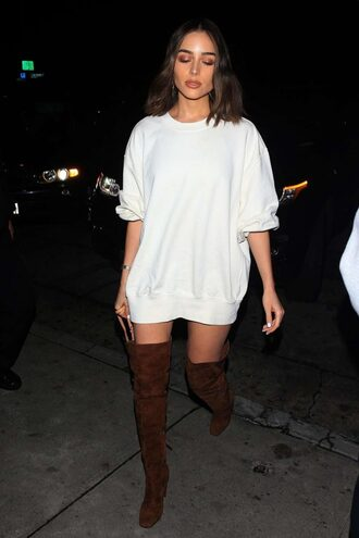 sweater boots suede boots olivia culpo sweatshirt oversized sweater dress shoes