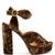 Graphic Leaves velvet sandals