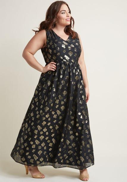 Modcloth dress maxi dress maxi sleeveless metallic flowers black