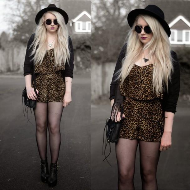 sammi jackson blogger hat romper sunglasses jacket jewels bag tights shoes