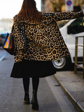 coat,tumblr,leopard print,animal print,printed coat,skirt,black skirt,midi skirt,tights,opaque tights,boots,black boots,flat boots,bag,printed bag