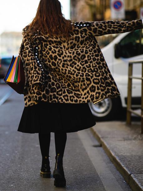 Coat Tumblr Leopard Print Animal Print Printed Coat Skirt