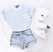 t-shirt,adidas,shirt,adidas shirt,blue,sky blue,adidas originals,adidas supercolor,blue shirt,crop tops,sporty,pastel,shorts,want need,jeans,baby blue,addidas shirt,light blue