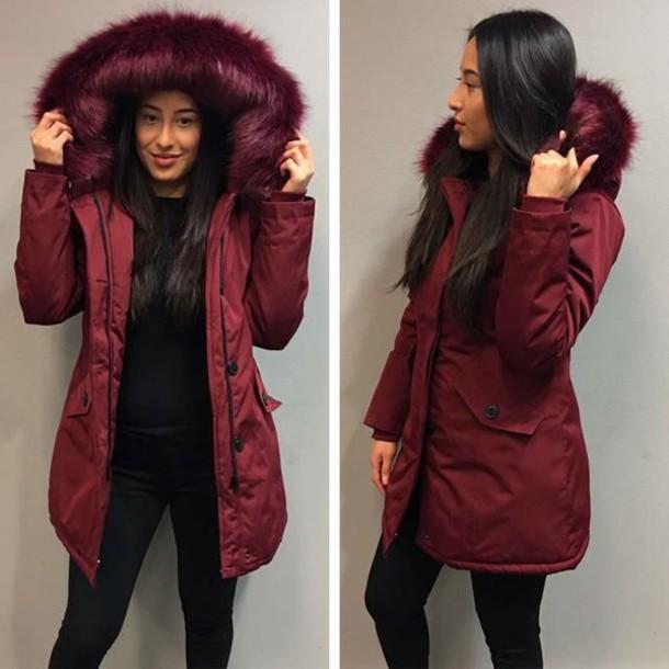 209a7a9b4ba coat, burgundy faux fur coat - Wheretoget