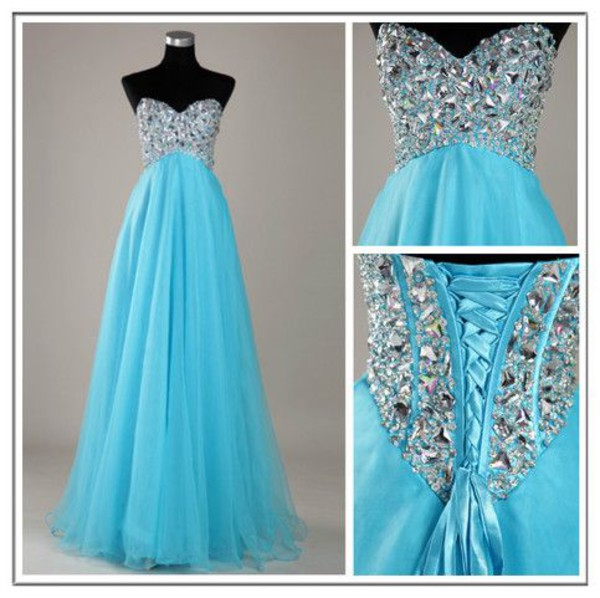 sweetheart dress long dress organza dress blue dress beaded dress sweetheart homecoming prom dress prom dress homecoming dress homecoming dress party dress party dress jewled long prom dress