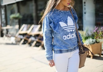jumper sweater adidas denim tie dye blue leaves cute