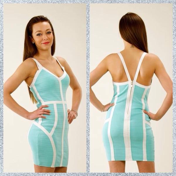 bandage dress dress bodycon dress cute dress blue dress aqua turquoise white dress