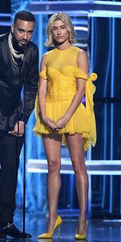 dress,yellow,yellow dress,pumps,hailey baldwin,mini dress,party dress,billboard music awards,monochrome outfit,model off-duty,shoes